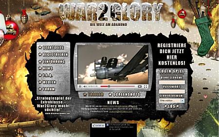 War2 Glory-Startbildschirm im weihnachtlichen Look